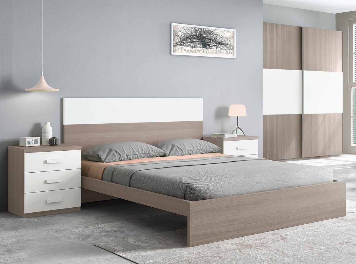 Dormitorio De Matrimonio Cama Y 2 Mesitas Color Natural Y Blanco  # Muebles Sahara Barranquilla