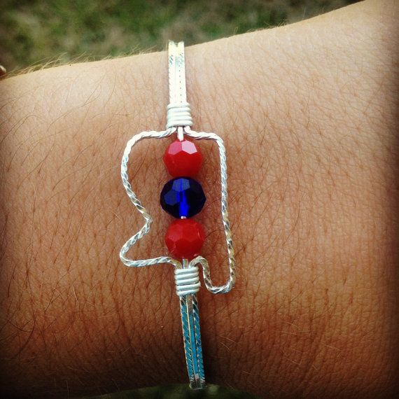 Ole Miss Bracelet Wire Wred Ms Shaped State By Amberscrafts2