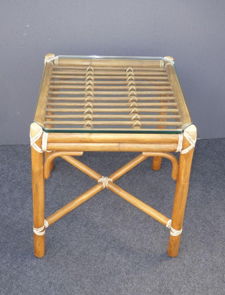 Vintage McGuire Mid Century Rattan Bamboo Glass Top END TABLE - Bamboo end table glass top
