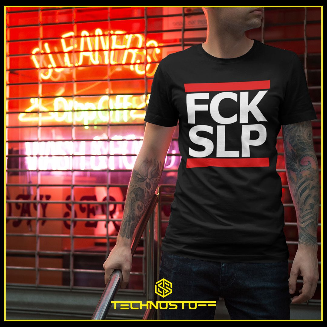 FCK SLP 💤 in black or white, for ladies or gents ▶ www.technostoff.com  #techno #rave #technoclothing #raveclothing #technomusic #technomusik #festival #technoparty #technolove #technoliebe #ravelife #raver #ravegirl #ravergirl #technooutfit #technostoff #fckslp
