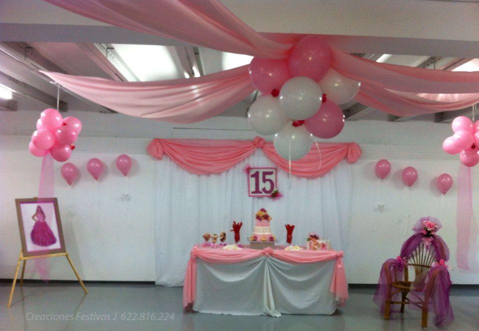 Decoraci n 15 a os rosado decoraci n con globos y telas for Decoracion en telas y globos para 15 anos