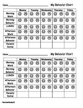 Simple weekly behavior chart kindergarten charts school also smiley face rh pinterest