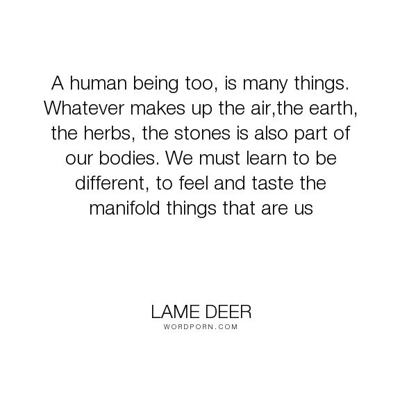 """Lame Deer - """"A human being too, is many things. Whatever makes up the air,the earth, the herbs,..."""". individuality, humanity, nature, earth, spiritual-growth, different-perspective"""