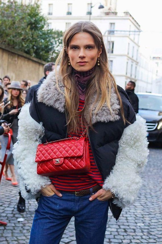Caroline Brasch Nielsen in a Sandy Liang coat with a Chanel bag