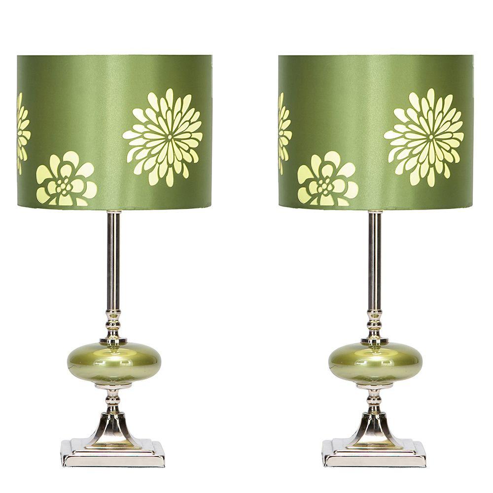 Casa cortes lush mosaic art glass 25 inch table lamps set of 2 - Casa Cortes Lush Green Contemporary Floral Small Table Lamps Set Of 2 By Casa Cortes