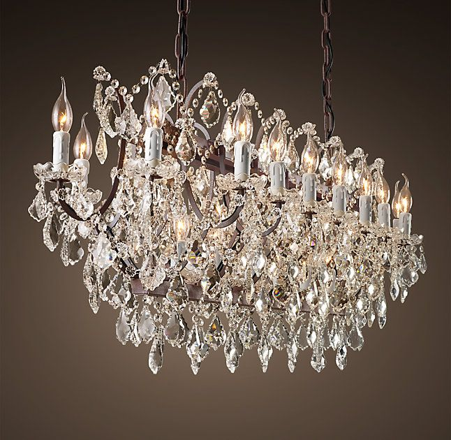 19th C Rococo Iron Clear Crystal Rectangular Chandelier 63