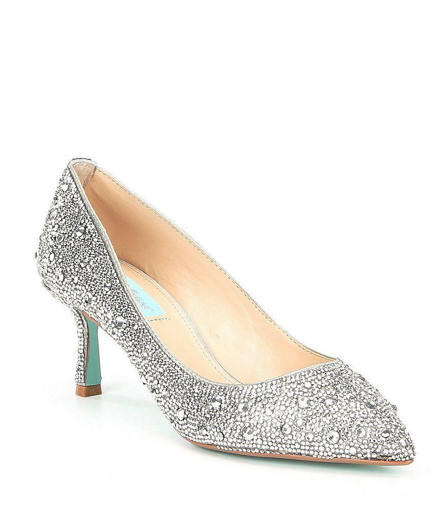 c2f88492185 Blue by Betsey Johnson Jora Glitter Jeweled Kitten Heel Pumps in ...