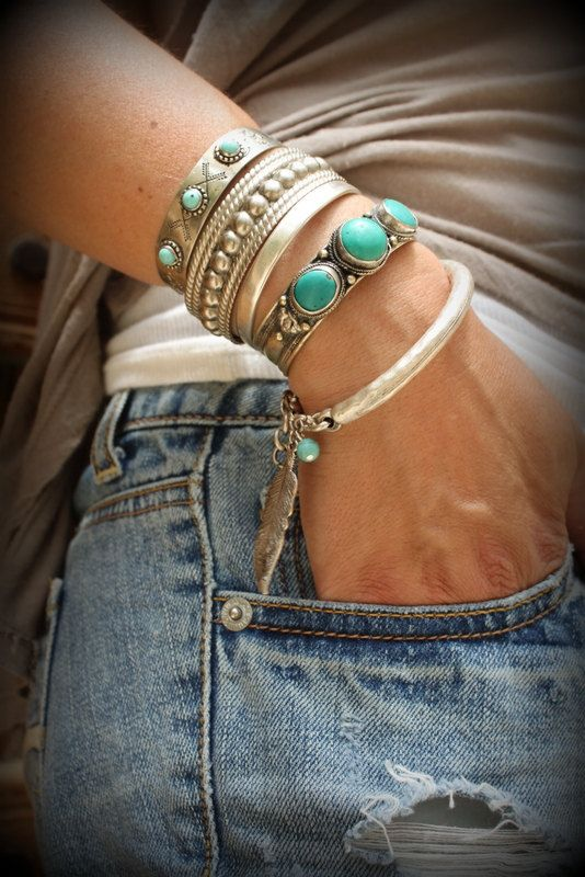 One Boho Matte Silver plated bangle Bracelet with Feather and howlite turquoise bead Native American style Tribal adjustable stackable is part of Bangle bracelets with charms, Turquoise jewelry, Gold plated bangles, Silver feather bracelet, Feather bracelet, Bangles - Tracking   Thanks for looking ) Inali