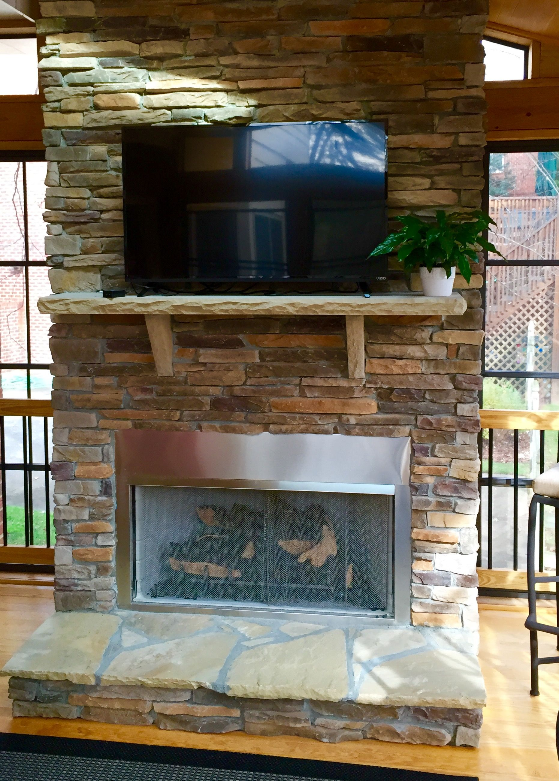 Image result for three season porch gas fireplace Three