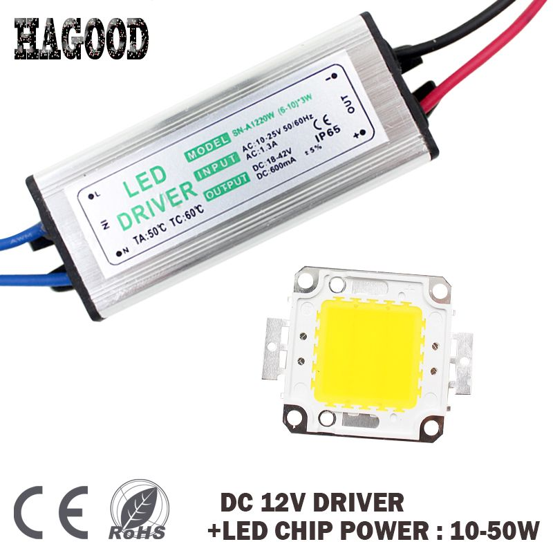Free Shipping 1pce Dc 12v 10w 20w 30w 50w High Power Cob Led Lamp Chips Bulb Dc 12v Input Led Driver For Floodlight Diy Affiliate Bulb Light Bulbs Led