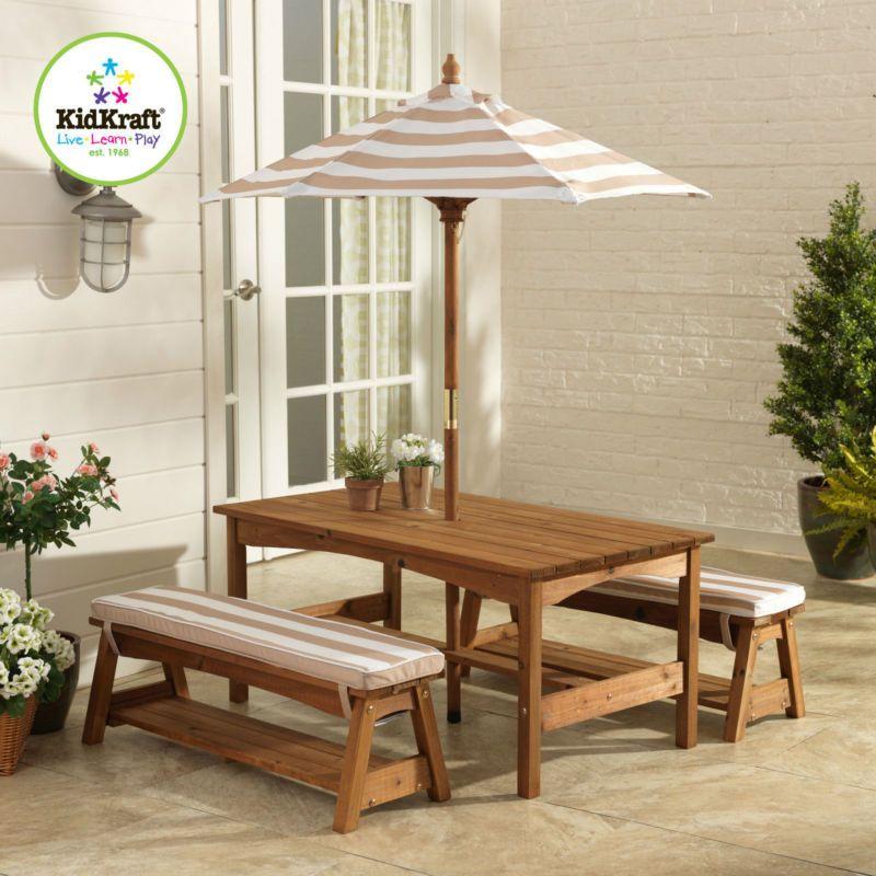 Superb Details About KIDKRAFT OUTDOOR KIDS CHILDREN TABLE AND BENCH SET CHAIR W/  CUSHION UMBRELLA