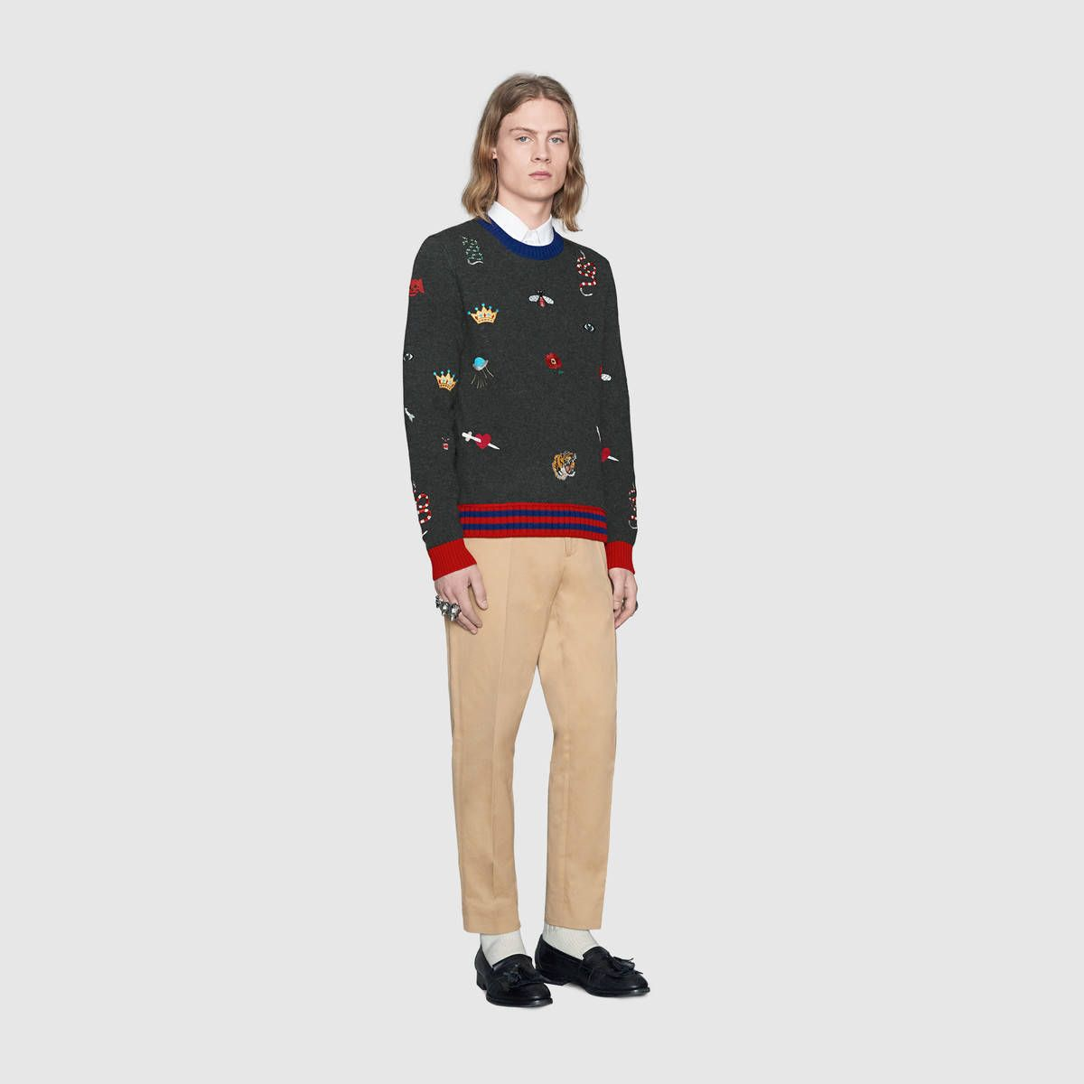 Gucci Wool sweater with embroideries Detail 2   Mens ...