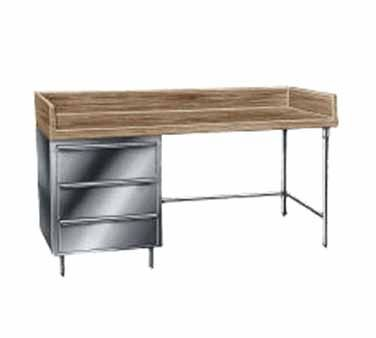 """Advance Tabco Bakers Prep Table 48"""" - BST-364    Bakers Top Work Table, 1-3/4"""" thick wood top, 36"""" wide top, w/splash at rear & both side, 48"""" long, with 3-tier drawer, stainless steel base"""