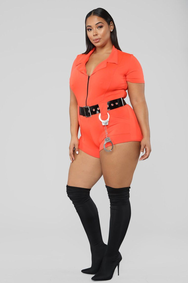 Lock Me Up Costume Orange In 2020 Orange Fashion Plus Size Clothing Stores Plus Size Outfits