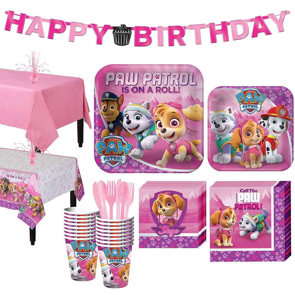 Pink PAW Patrol Tableware Party Kit For 16 Guests