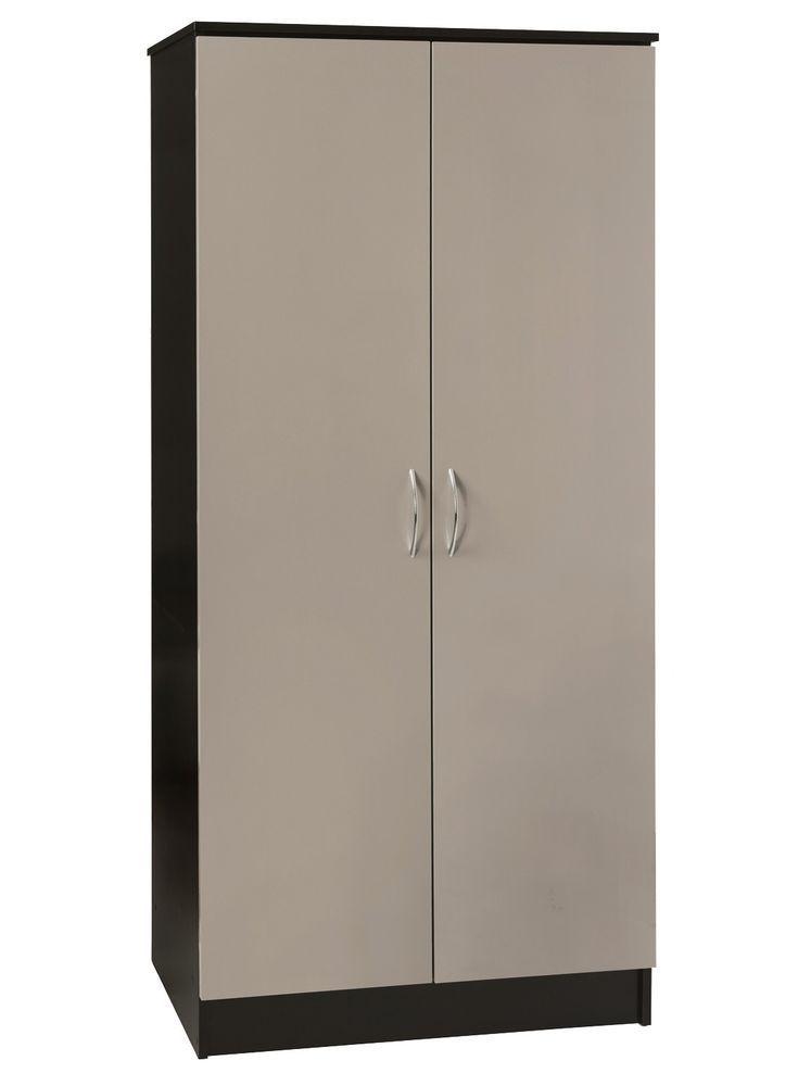Exceptionnel 2 Door Wardrobe Double Armoire Cloth Storage Cheap Bedroom Furniture Grey  Black