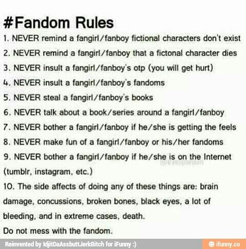 Rules for interacting with fangirls/boys