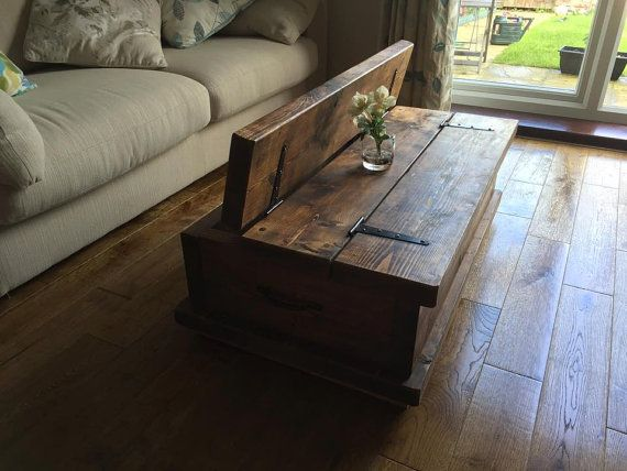 Rustic Chunky Coffee Table Storage Chest Hand Made Solid Oak