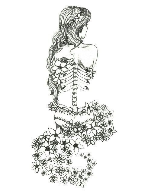 Girl Long Hair Flowers Skeleton Illustration Drawing Art Love