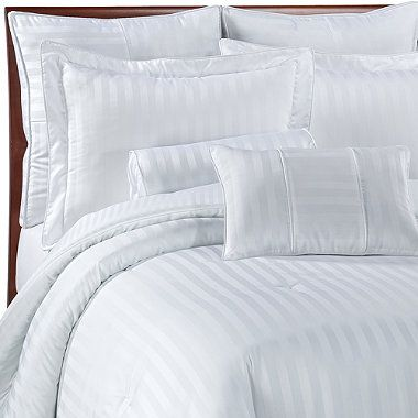 Damask Stripe White Mini Comforter Set 100 Egyptian Cotton