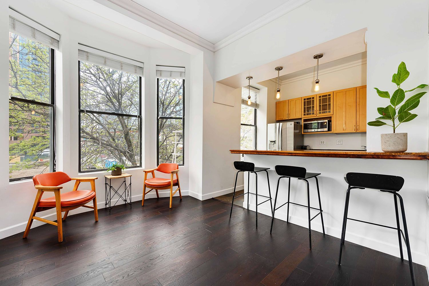 Mid century furniture gives this updated vintage 2 bedroom