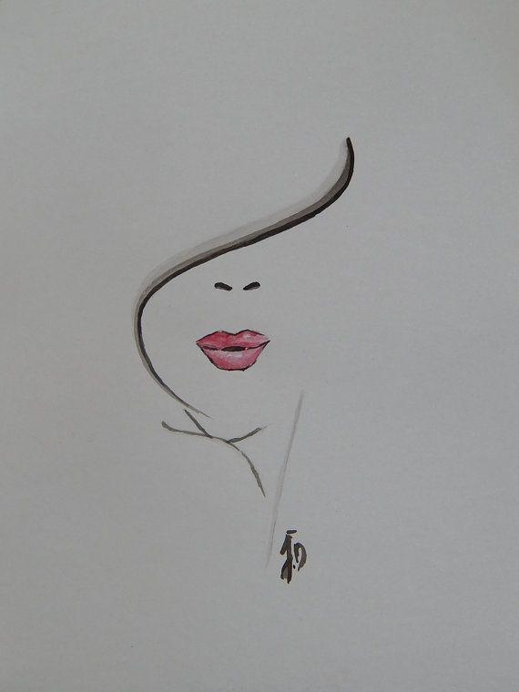 Aquarelle Visage Abstrait Rose Et Noire Par Tumblrandco Sur Etsy