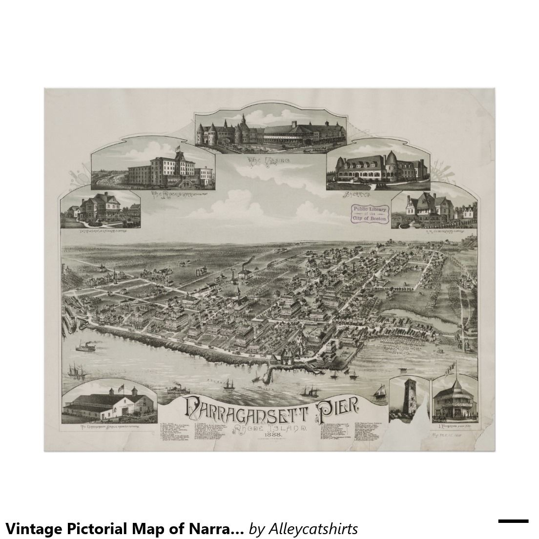 Vintage Pictorial Map of Narragansett RI 1888