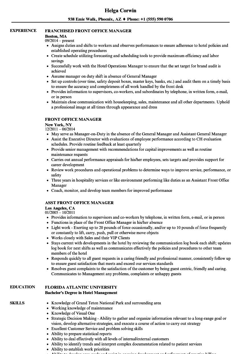 Sample Office Manager Resume Inspiring Front Fice Manager