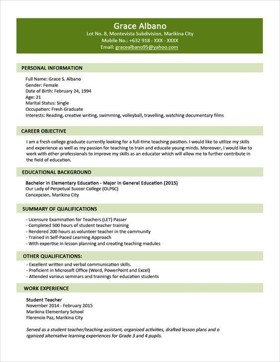 Sample Resume Format for Fresh Graduates - Two-Page Format 11 - esl teacher sample resume