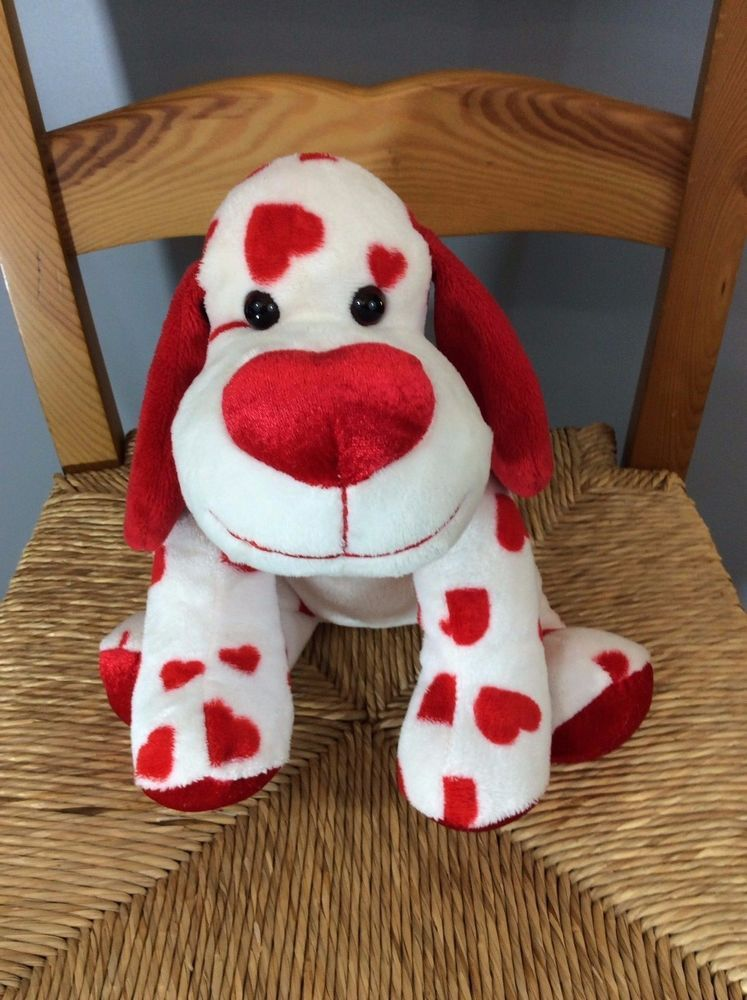 Walmart Valentine Red White PUPPY DOG Hearts Plush Stuffed