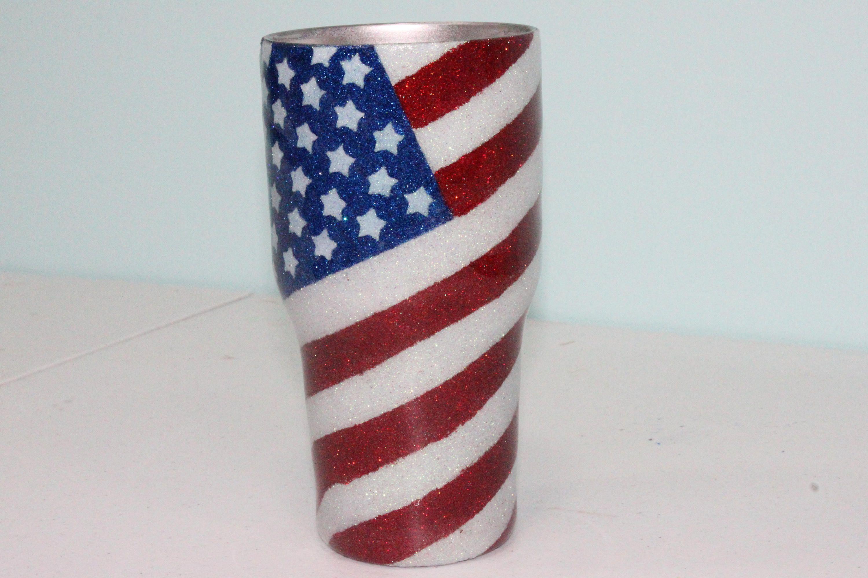 20305ebff5b1 Glitter tumbler   Glittered yeti   American flag glitter yeti ...