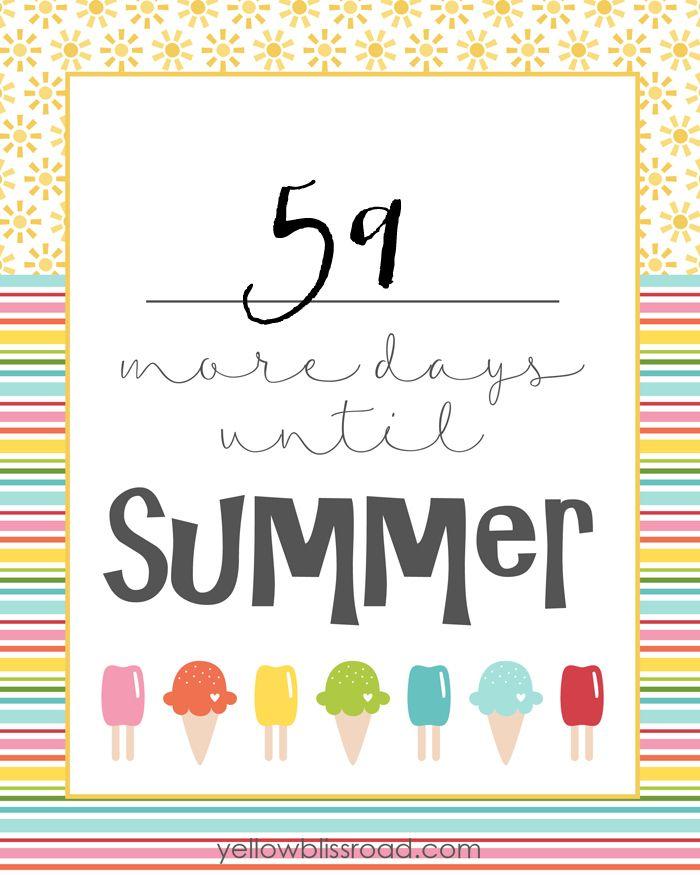 Free Countdown To Summer Printable School Countdown Summer