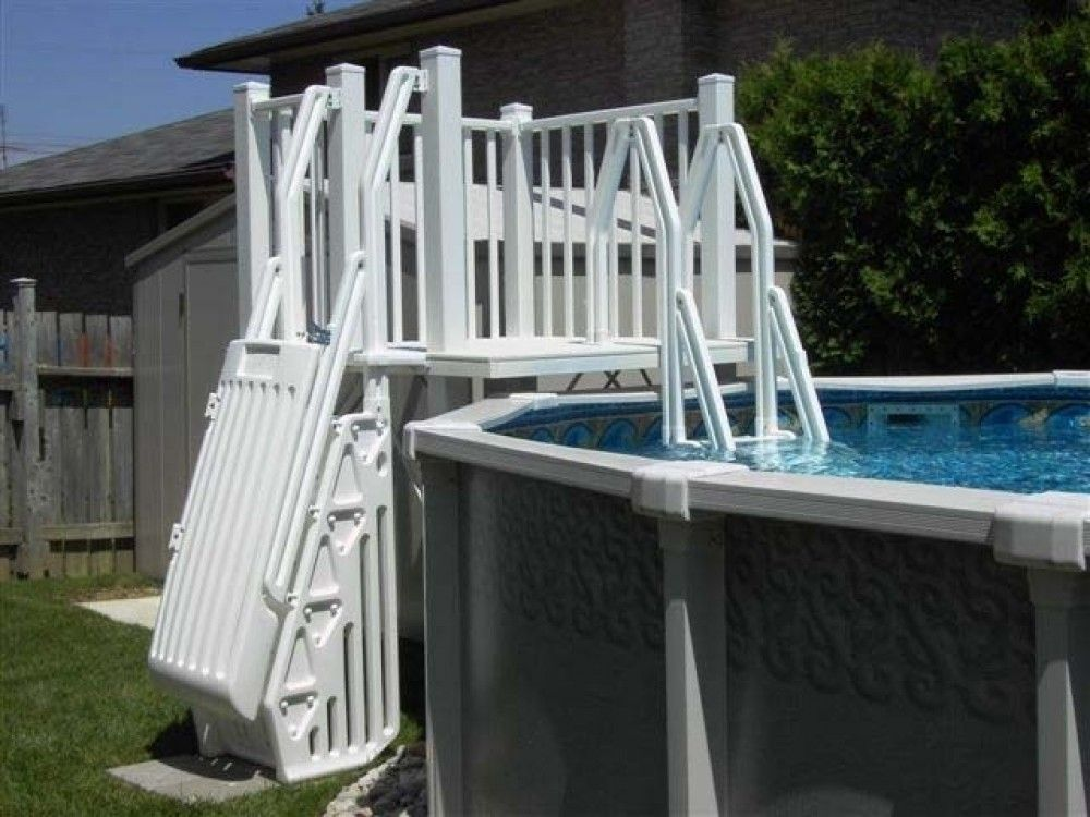 Vinylworks 5 X 5 Resin Above Ground Pool Deck Kit W Steps Taupe