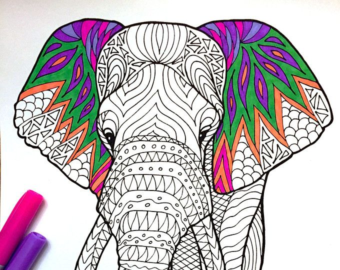 Asian Elephant PDF Zentangle Coloring Page Por DJPenscript En Etsy