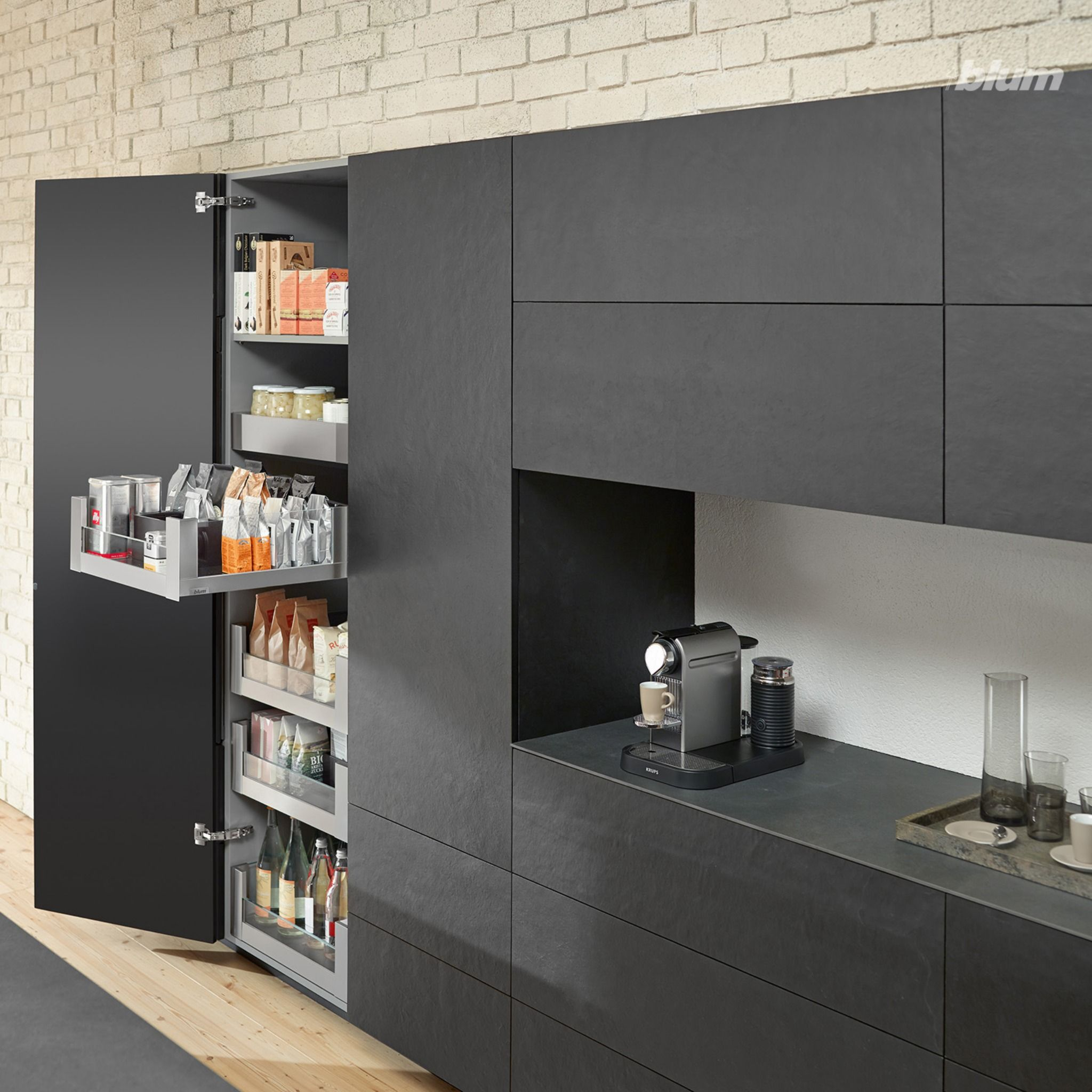 Black Kitchen Island With Handle Less Kitchen Cabinetry And Soft Closing Drawers Pantry Design Home Built In Pantry