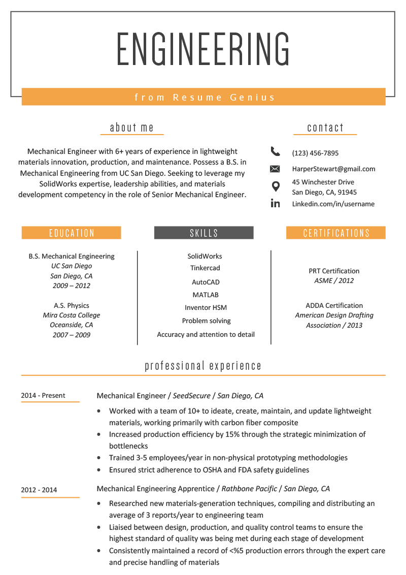 Engineering Resume Example & Writing Tips Resume Genius