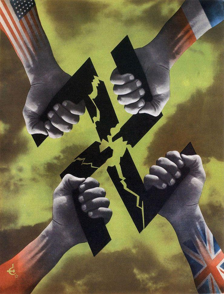 An anti-Nazi propaganda poster by Frédéric Henri Kay Henrion (1942)