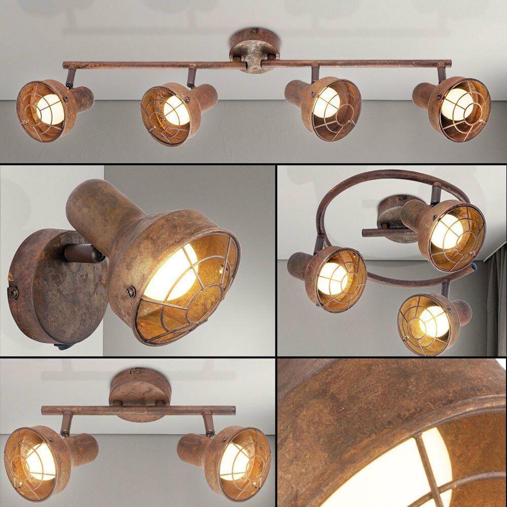 Decken Lampe Wand Leuchte Spot Strahler Gitter Design Retro Vintage Rostfarbe Ebay Lampe Wand Lampen Spots Lampe