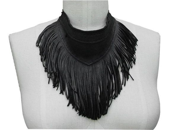Bib Necklace Scarf with Fringe Black Leather Fringe READY in stock $245