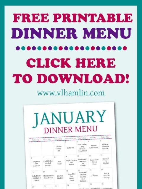 January 2019 Downloadable Meal Plan Calendar January 2019 Dinner Meal Plan   Free Printable Menu   Click Here