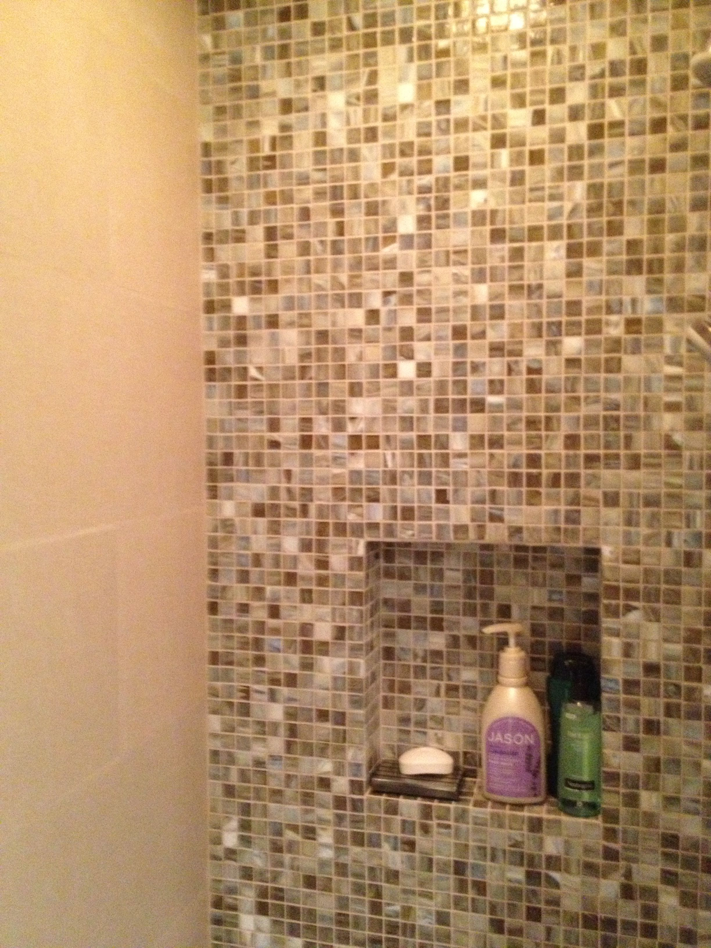 The 2nd Guest Bathroom For Palm Desert Retreat Features Include Mosaic Wall Tile Stone And Pewter Accents Shibui Ochre Natural 1x1