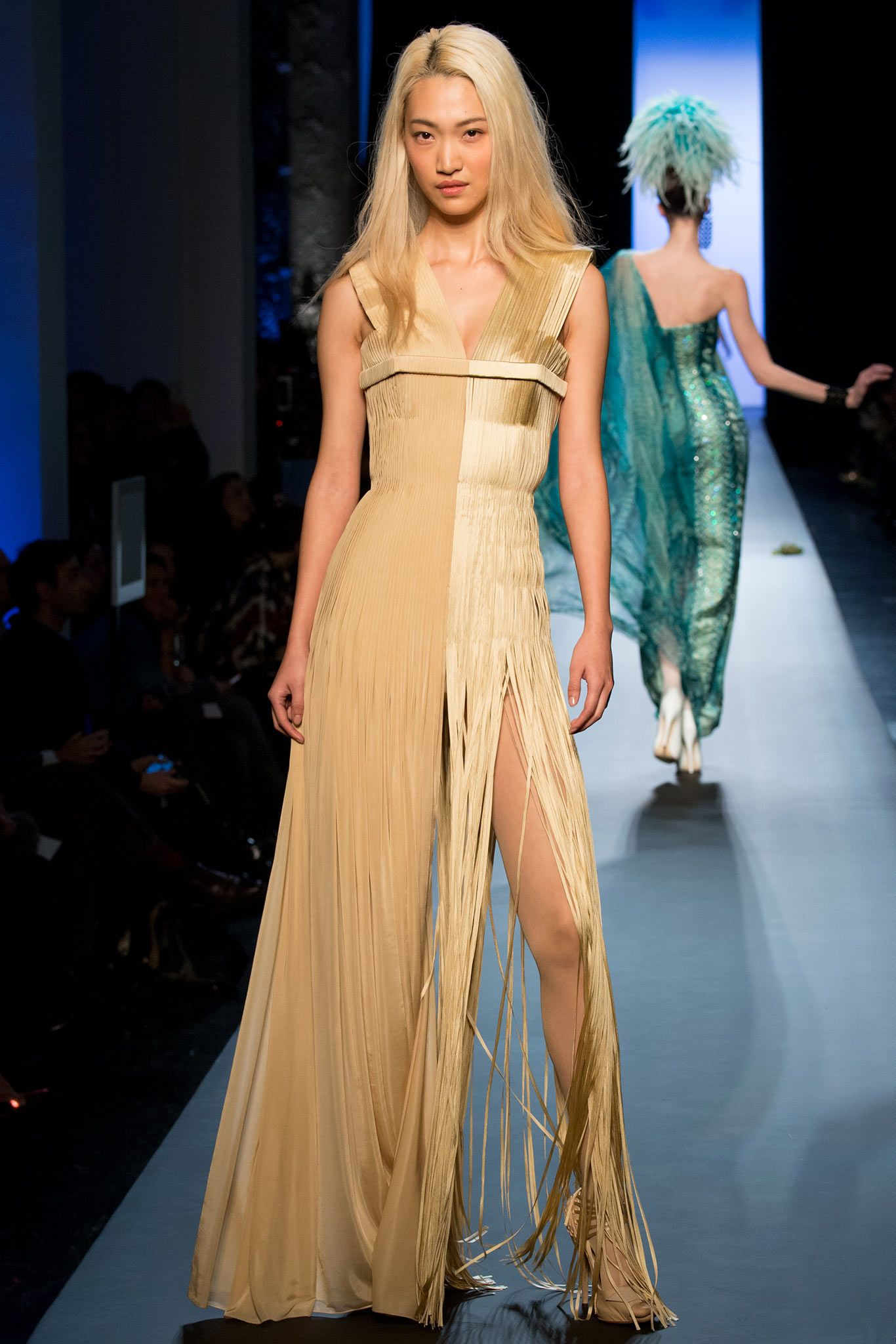 Jean Paul Gaultier | Spring 2015 Couture | 51 Beige pleated sleeveless maxi dress with fringed hem