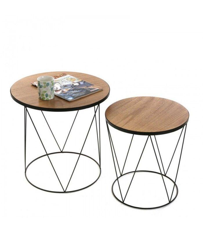 Set De 2 Tables Basses Rondes En Metal Noir Et Bois Plateau Bois Table D Appoint Ronde Table Basse