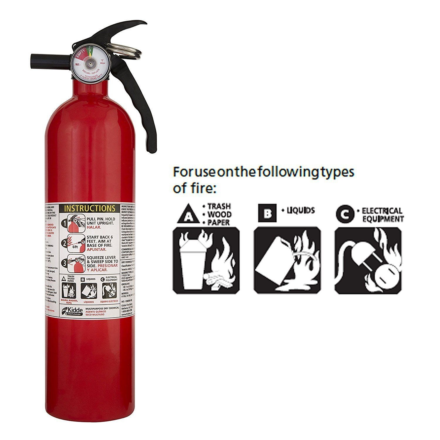 Kidde Fa110 Multi Purpose Fire Extinguisher 1a10bc 1 Pack Home Improvement Amazon Market Place Fire Extinguisher Extinguisher Fire Prevention