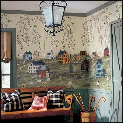 Decorating theme bedrooms maries manor primitive americana decorating style folk art - Country wall decor ideas ...