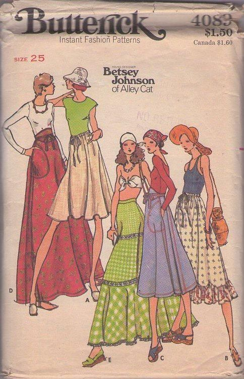 MOMSPatterns Vintage Sewing Patterns - Butterick 4089 Vintage 70's Sewing Pattern FANTASTIC Designer Betsey Johnson of Alley Cat Bohemian Gypsy Contrast Tiers, Wrap Around, Wide Midriff, Drawstring Waist, FIVE STYLES of Skirts Waist 25