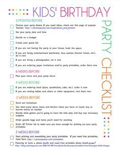 Free Printable Kids Party Planning Checklist Birthday Party