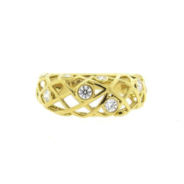 Hearts Fire Brocade 18k Yellow Gold Diamond Right Hand Ring