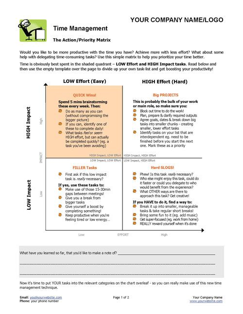 time management action plan Learn how to make an action plan with steps and tips from jennifer bridges, pmp   specifically, in project management, it's a document that lists the steps  so,  first of all, you wanna create a simple template to save time.