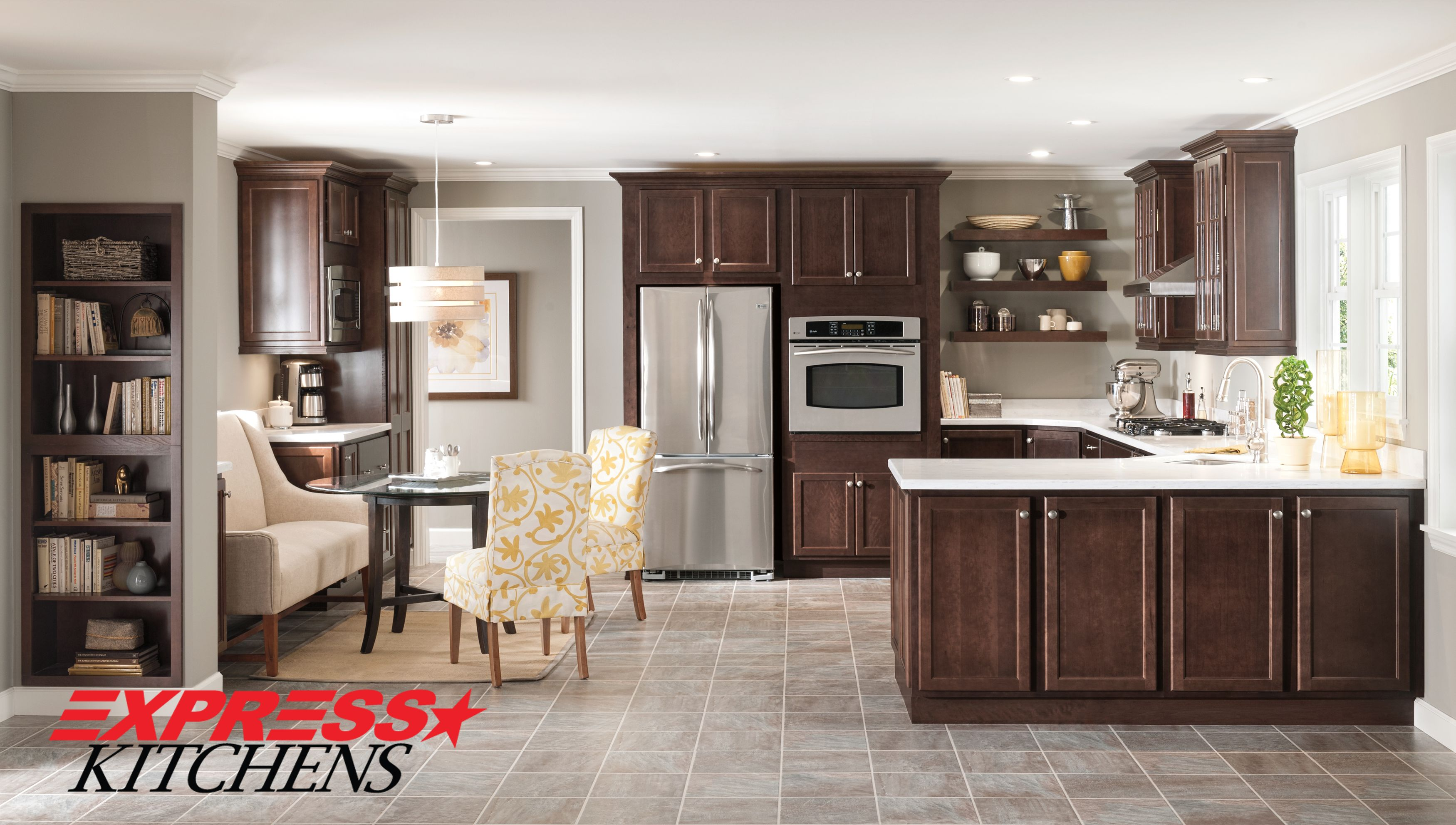 Affordable And Versatile Laurel S Styling Lets You Create An Inviting Traditional Look To Suit Kitchen Tiles Design Dark Wood Kitchen Cabinets Kitchen Design